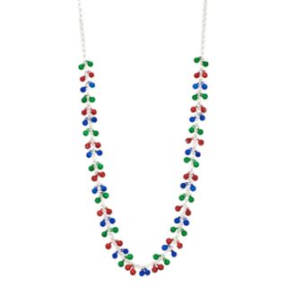 Multi Colored Bell Cluster Chain Necklace