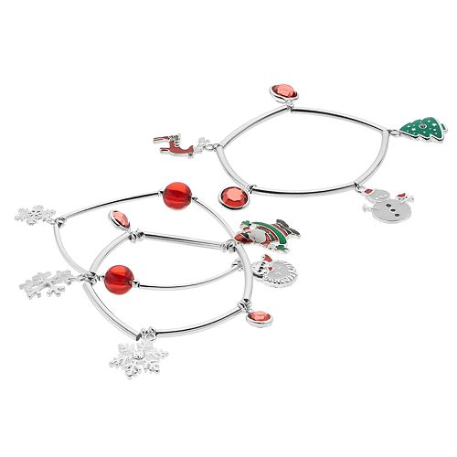 Red Bead & Christmas Charm Stretch Bracelet Set
