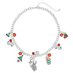 Simulated Crystal & Bell Christmas Charm Necklace