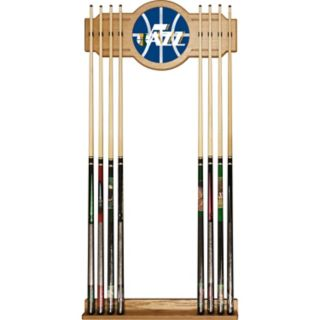 Utah Jazz Logo Framed Mirror Pool Cue Holder