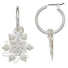 Layered Snowflake Nickel Free Hoop Earrings