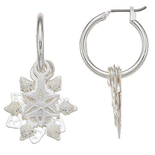Layered Snowflake Nickel Free Hoop Earrings
