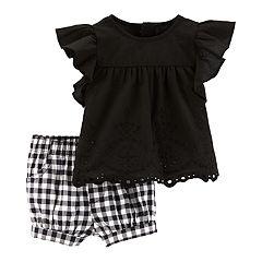 Baby Girl Carter's Eyelet Top & Gingham Shorts Set
