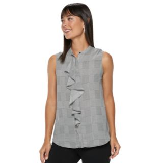 Women's ELLE? Print Ruffle-Front Sleeveless Top