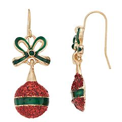 Red Sparkle Ornament & Green Bow Nickel Free Drop Earrings