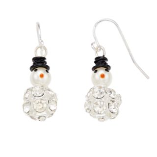 Simulated Crystal & Pearl Snowman Nickel Free Drop Earrings