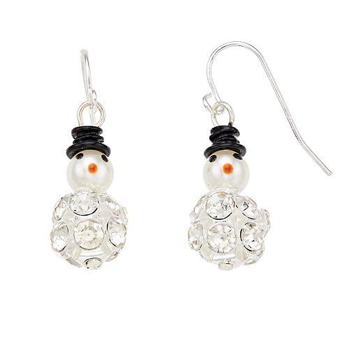 Simulated Crystal & Pearl Snowman Nickel Free Drop Earrings