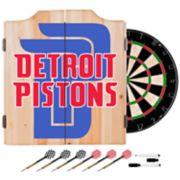 Detroit Pistons Wood Dart Cabinet Set