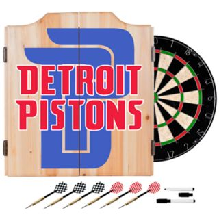 Detroit Pistons Wood Dart Cabinet Set