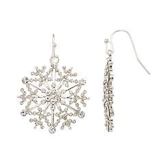 Simulated Crystal Snowflake Nickel Free Drop Earrings