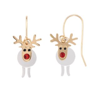 Two Tone Reindeer Nickel Free Drop Earrings