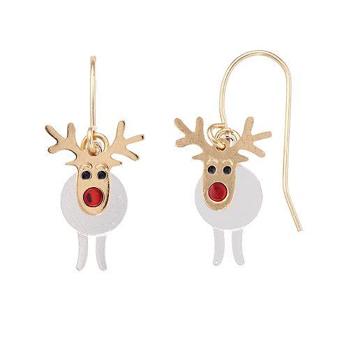 Two Tone Reindeer Nickel Free Drop Earrings