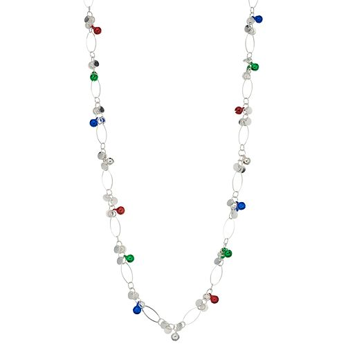 Simulated Pearl & Multi Colored Bell Cluster Chain Necklace