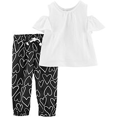 Baby Girl Carter's Eyelet Top & Heart Pants Set
