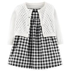 Baby Girl Carter's Gingham Dress & Pointelle Cardigan Set