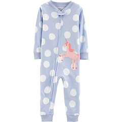 Baby Girl Little Planet Organic Polka-Dot Unicorn Coverall