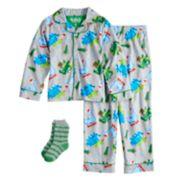 Boys 6-10 Up-Late Dinosaur Pajama Set With Socks