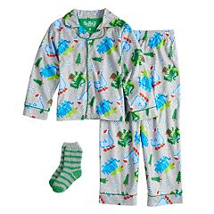 Boys 6-10 Up-Late Dinosaur Pajama Set With Socks