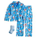 Boys 4-10 Up-Late Snowman Pajamas & Socks Set