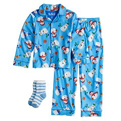 Boys 4-10 Up-Late Snowman Pajamas & Socks Set