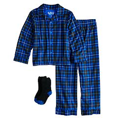 Boys 4-10 Up-Late Plaid 2-Piece Pajama & Socks Set