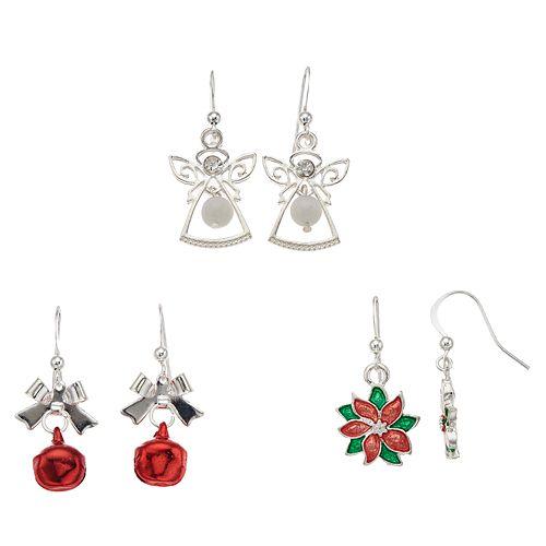 Angel, Jingle Bell & Poinsettia Nickel Free Drop Earring Set