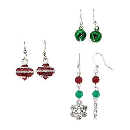 Snowflake, Jingle Bell & Ornament Nickel Free Drop Earring Set