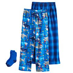 Boys 4-16 Up-Late Santa Shark 2-Pack Lounge Pants & Socks Set