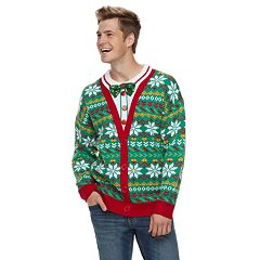 Men's Mock-Layered Christmas Cardigan Sweater
