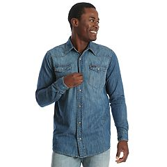 6aa14ed902 Men s Wrangler Denim Mid-Wash Indigo Snap-Front Western Shirt