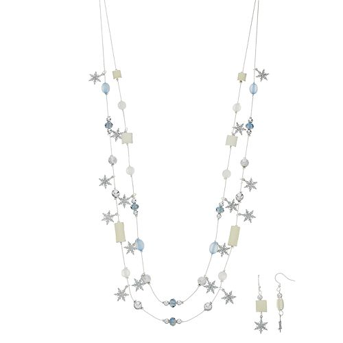 Snowflake Charm Double Strand Necklace & Drop Earring Set