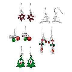 Snowflake, Christmas Tree & Poinsettia Nickel Free Drop & Stud Earring Set