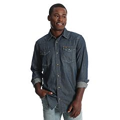 Men's Wrangler Denim Blue Snap-Front Western Shirt