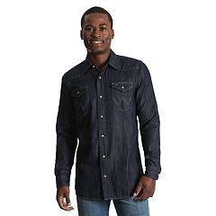 Men's Wrangler Denim Dark-Wash Indigo Snap-Front Western Shirt