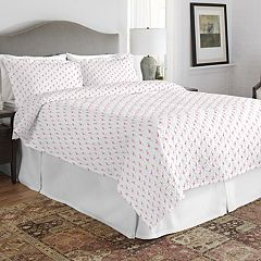 Pointehaven Print 200 Thread Count Percale Cotton Quilt Set