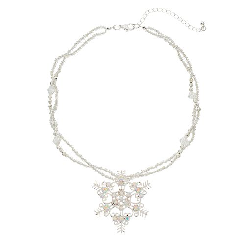 Snowflake Pendant Double Strand Necklace