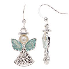 Simulated Pearl & Crystal  Nickel Free Angel Drop Earrings