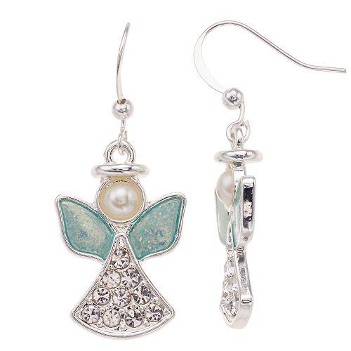 Simulated Pearl & Crystal  Nickel Free Angel Drop Earrings