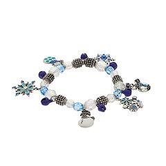 Snowman & Snowflake Charm Stretch Bracelet