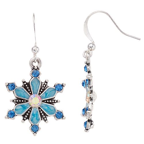Blue Snowflake Nickel Free Drop Earrings