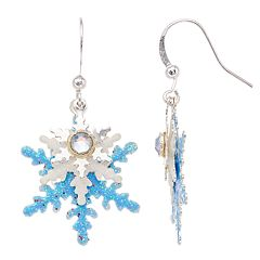 Glittery Snowflake Nickel Free Drop Earrings