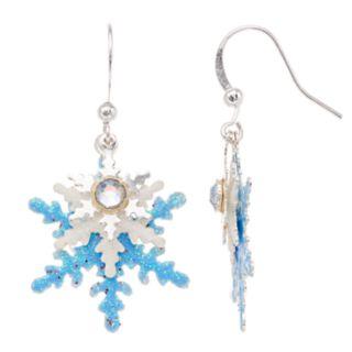 Glittery Snowflake Nickel Free Drop Earrings