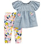 Baby Girl Carter's Chambray Top & Floral Leggings Set
