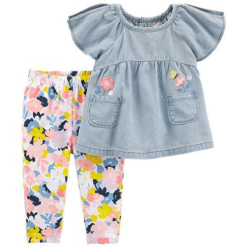 Baby Girl Carter's Chambray Top & Floral Leggings Set