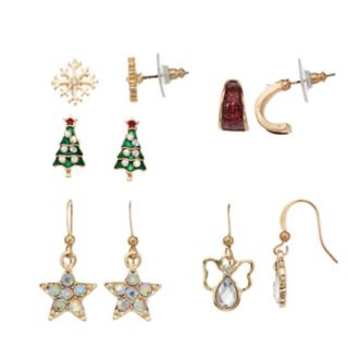 Snowflake, Christmas Tree & Angel Nickel Free Stud, Hoop & Drop Earring Set
