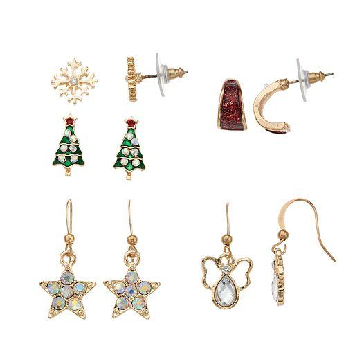 Snowflake, Christmas Tree & Angel Nickel Free Stud, Hoop & Drop Earring Set