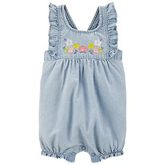 Baby Girl Carter's Floral Chambray Ruffled Romper