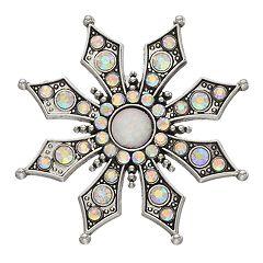 Simulated Crystal Snowflake Pin