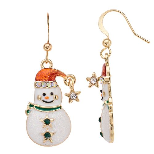 Snowman Nickel Free Drop Earrings