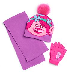Girls 4-6x DreamWorks Trolls Poppy Hat, Scarf & Gloves Set
